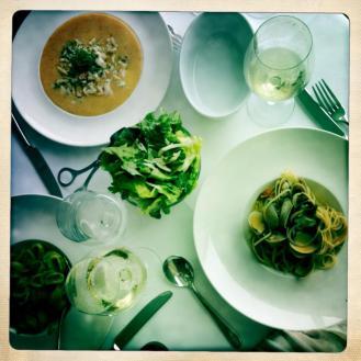 Spaghettini, polenta, salad