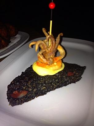 paella onigiri w fried calamari