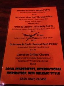 Killer Poboys menu
