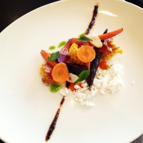 Heirloom carrots with carrot cake, olive oil powder and raisin