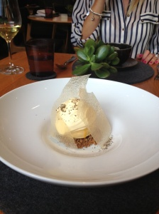 Aerated passionfruit, roasted nougatine, passionfruit ice cream $17