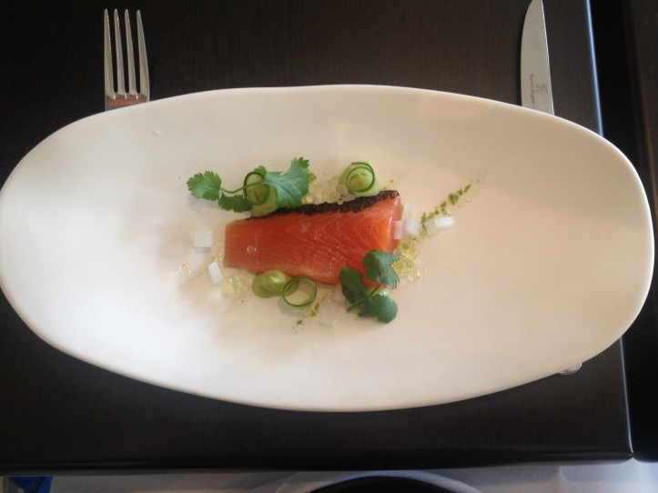 Cured trout with daikon, cucumber and lemon pearls