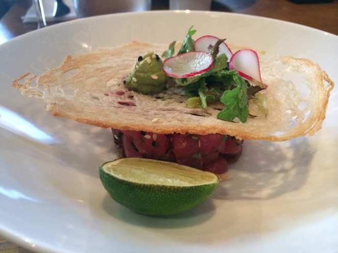 Entree Tuna Tartare with sesame, avocado radish