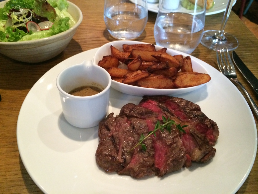 Steak with Pepper Sauce and Duck Fat Chips