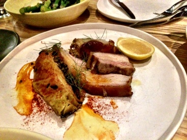 Wood Roasted Pork with charred cabbage, sweet potato & cheddar gratin